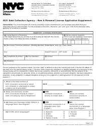 """Debt Collection Agency - New & Renewal License Application Supplement"" - New York City, 2021"