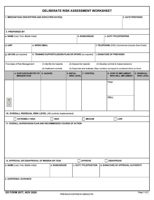 DD Form 2977  Printable Pdf