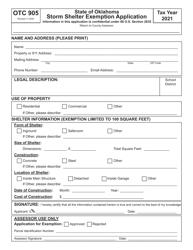 "OTC Form 905 ""Storm Shelter Exemption Application"" - Oklahoma, 2021"