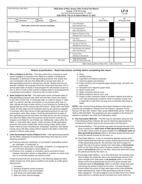 Form LF-5 2020 Printable Pdf