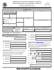 """USCIS Form I-212 """"Application for Permission to Reapply for Admission Into the United States After Deportation or Removal"""""""