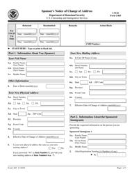 "USCIS Form I-865 ""Sponsor's Notice of Change of Address"""