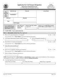 "USCIS Form I-910 ""Application for Civil Surgeon Designation"""
