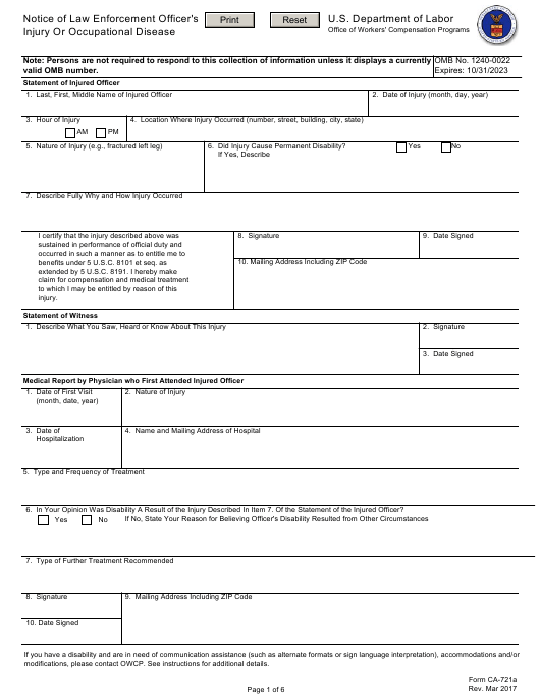 Form CA-721  Printable Pdf