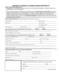 "Form RR (ADPH-RAD-123) ""Request to Work in Alabama Under Reciprocity"" - Alabama"