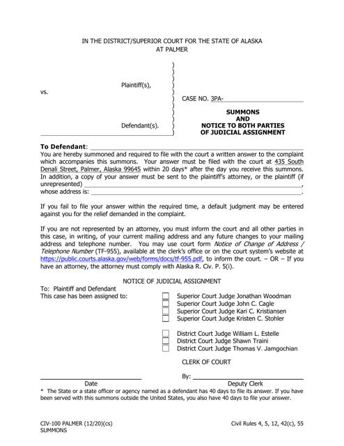Form CIV-100 Printable Pdf