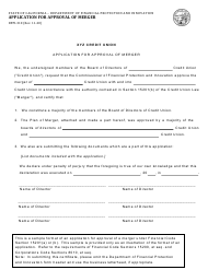 """Form DFPI-310 """"Application for Approval of Merger"""" - California"""