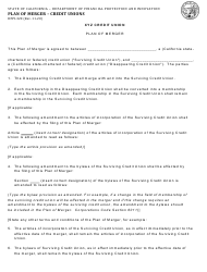 """Form DFPI-320 """"Plan of Merger - Credit Unions"""" - California"""