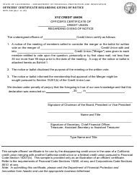 "Form DFPI-340 ""Officers' Certificate Regarding Giving of Notice"" - California"
