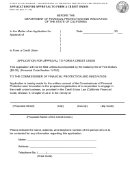 """Form DFPI-390 """"Application for Approval to Form a Credit Union"""" - California"""