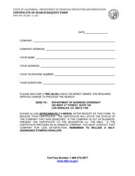 "Form DFPI-DOC26 ""Certificate of Search Request Form"" - California"