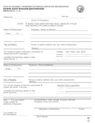 "Form DFPI-EL330 ""Escrow Agent Manager Questionnaire"" - California"