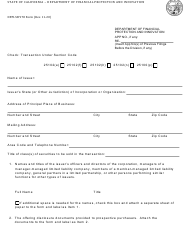 """Form DFPI-SB978 """"Real Estate Related Information Required Pursuant to Corporations Code Section 25102.2"""" - California"""
