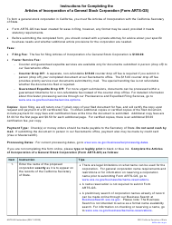 "Form ARTS-GS ""Articles of Incorporation of a General Stock Corporation"" - California"