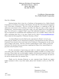 """""""Certificate of Incorporation for a Public Benefit Corporation"""" - Delaware"""