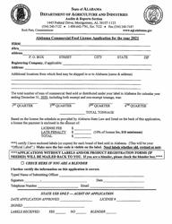 """Alabama Commercial Feed License Application"" - Alabama, 2021"