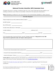 """National Provider Identifier (Npi) Backdate Form"" - Colorado"