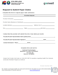 """Request to Submit Paper Claims"" - Colorado"