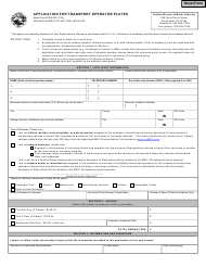 """State Form 37028 """"Application for Transport Operator Plates"""" - Indiana"""