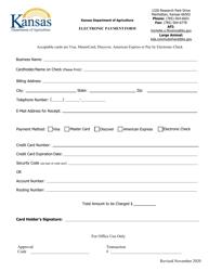 """""""Electronic Payment Form"""" - Kansas"""