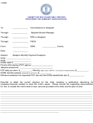 """Adoption Monthly Payment Exception Memo"" - Kentucky"