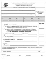 "DNR Form 158-A ""Application for Refund"" - Maryland"