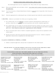"""DNR Form 158-A """"Application for Refund"""" - Maryland, Page 2"""