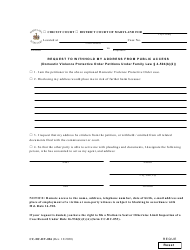 """Form CC-DC-DV-026 """"Request to Withhold My Address From Public Access (Domestic Violence Protective Order Petitions Under Family Law 4-504(B)(2))"""" - Maryland"""