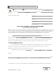 """Form CC-DC-CR-078 (4-503.2) """"General Waiver and Release"""" - Maryland"""