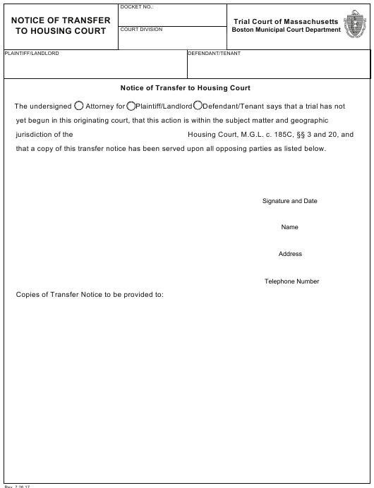 """""""Notice of Transfer to Housing Court"""" - City of Boston, Massachusetts Download Pdf"""