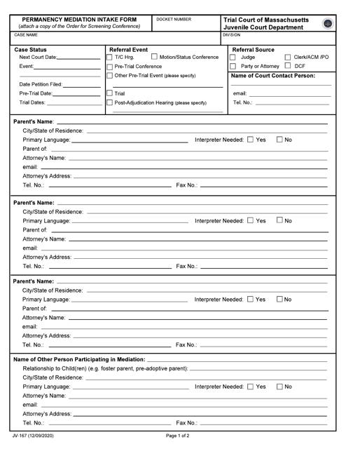 Form JV-167 Printable Pdf