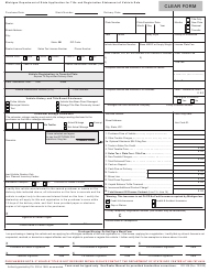 "Form RD-108 ""Application for Title and Registration Statement of Vehicle Sale"" - Michigan"
