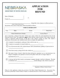 """Application for Refund"" - Nebraska"