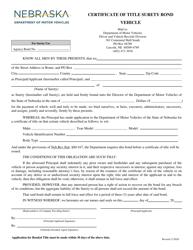 """Certificate of Title Surety Bond - Vehicle"" - Nebraska"
