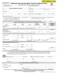 "Form 84 (3-194-1975) ""Nebraska Non-ag Use Motor Fuels Tax Refund Claim"" - Nebraska"