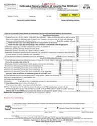 "Form W-3N ""Amended Nebraska Reconciliation of Income Tax Withheld"" - Nebraska"
