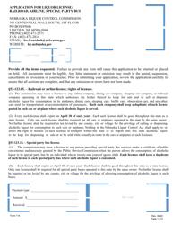 "Form 114 ""Application for Liquor License: Railroad, Airline, Special Party Bus"" - Nebraska"