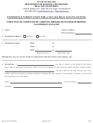 """Form 509 """"Experience Verification for a Nevada Real Estate License"""" - Nevada"""