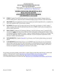 "Form 580 ""Application for Renewal of Real Estate License"" - Nevada"