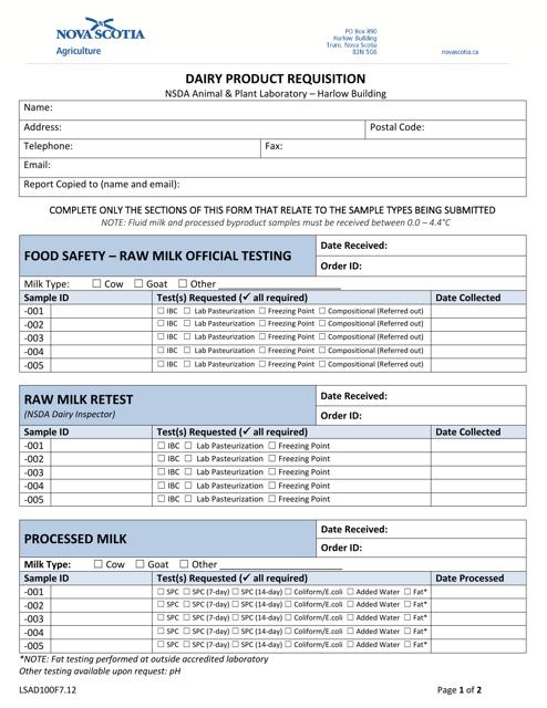 Form LSAD100F7.12 Printable Pdf