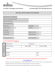 """Historical Societies Assistance Program Application"" - New Brunswick, Canada"