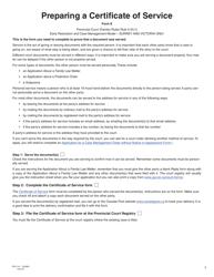 """Form E (PFA714) """"Certificate of Service"""" - British Columbia, Canada"""