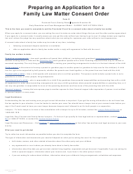 """Form N (PFA723) """"Application for a Family Law Matter Consent Order"""" - British Columbia, Canada"""