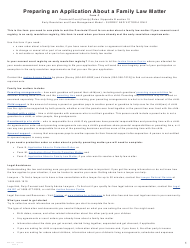 """Form C (PFA712) """"Application About a Family Law Matter"""" - British Columbia, Canada"""