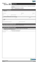 """Forme V-3090 Volet 1 """"Rapport Final - Infrastructures Et Securite"""" - Quebec, Canada (French)"""