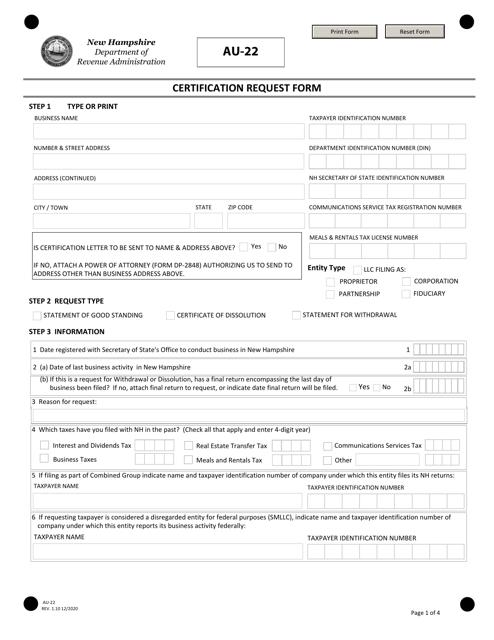 Form AU-22 Printable Pdf