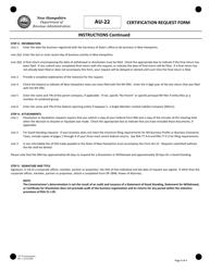 "Form AU-22 ""Certification Request Form"" - New Hampshire, Page 4"
