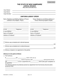 "Form NHJB-3058-F ""Uniform Alimony Order"" - New Hampshire"