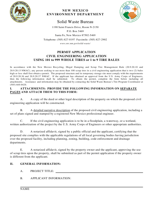 """""""Application for Small Civil Engineering Application Permit"""" - New Mexico Download Pdf"""