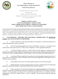 """Application for Large Civil Engineering Application Permit"" - New Mexico"